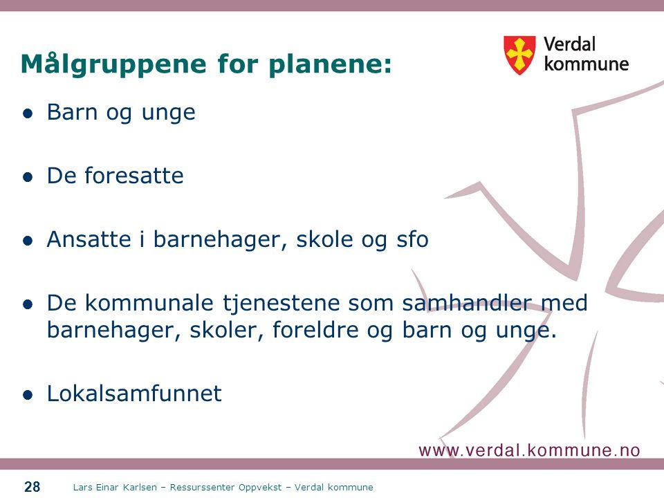 Målgruppene for planene:
