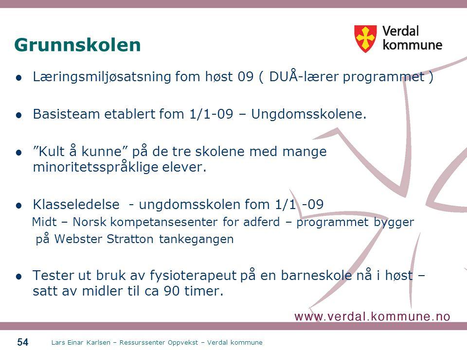 Grunnskolen Læringsmiljøsatsning fom høst 09 ( DUÅ-lærer programmet )