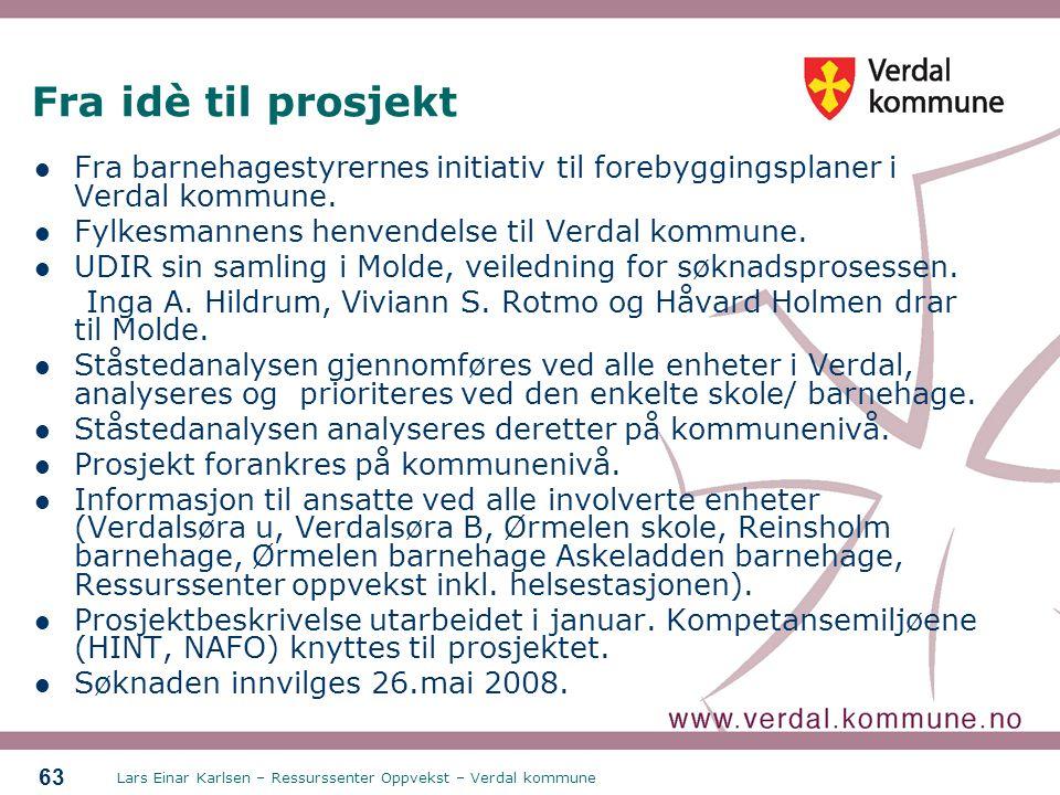 Fra idè til prosjekt Fra barnehagestyrernes initiativ til forebyggingsplaner i Verdal kommune. Fylkesmannens henvendelse til Verdal kommune.
