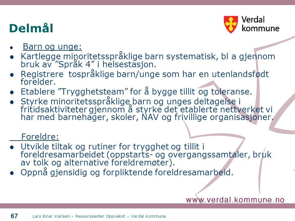 Delmål Barn og unge: Kartlegge minoritetsspråklige barn systematisk, bl a gjennom bruk av Språk 4 i helsestasjon.