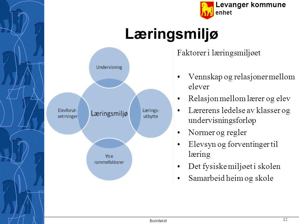 Læringsmiljø Faktorer i læringsmiljøet