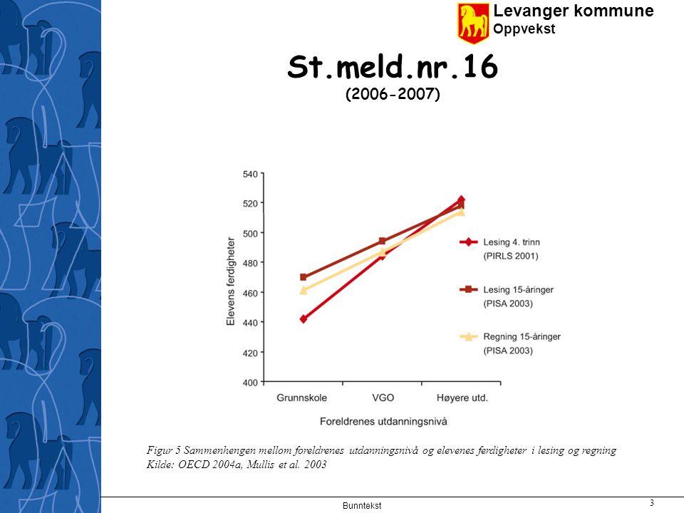 St.meld.nr.16 (2006-2007) Figur 5 Sammenhengen mellom foreldrenes utdanningsnivå og elevenes ferdigheter i lesing og regning.