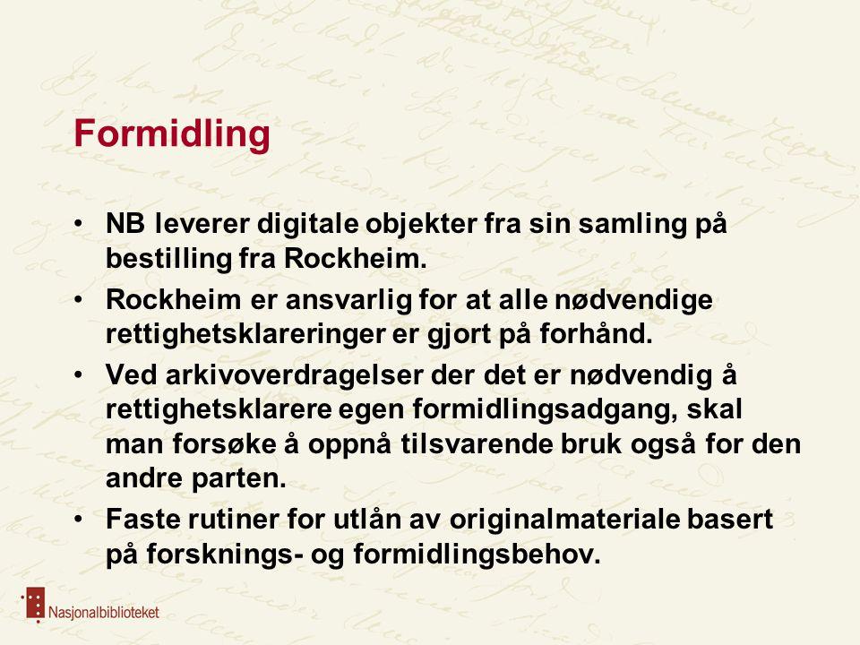 Formidling NB leverer digitale objekter fra sin samling på bestilling fra Rockheim.