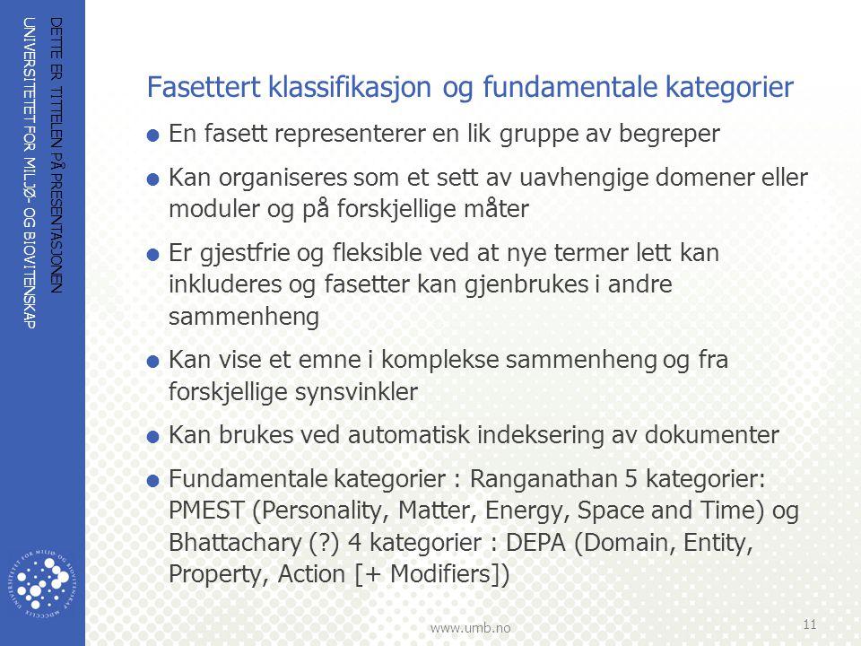 Fasettert klassifikasjon og fundamentale kategorier