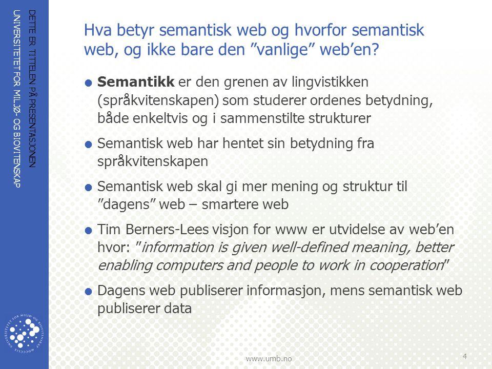 Hva betyr semantisk web og hvorfor semantisk web, og ikke bare den vanlige web'en