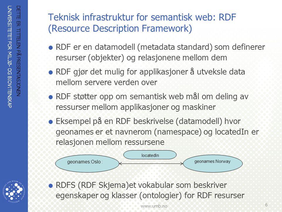 Teknisk infrastruktur for semantisk web: RDF (Resource Description Framework)