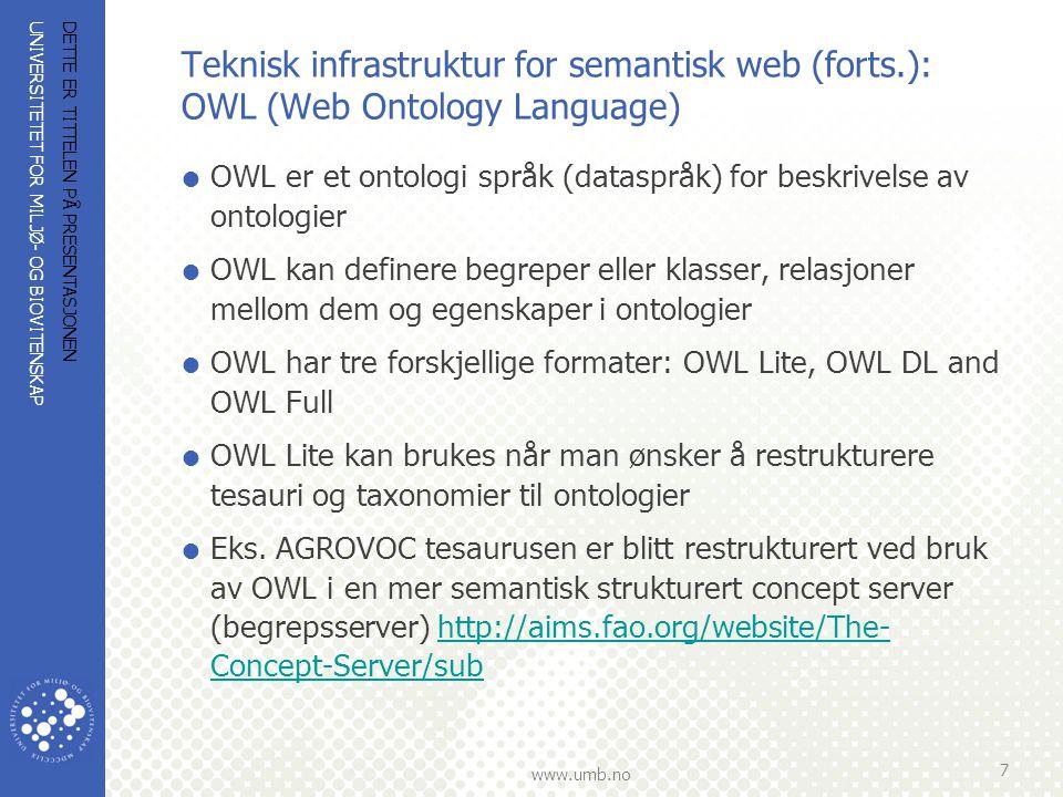 Teknisk infrastruktur for semantisk web (forts
