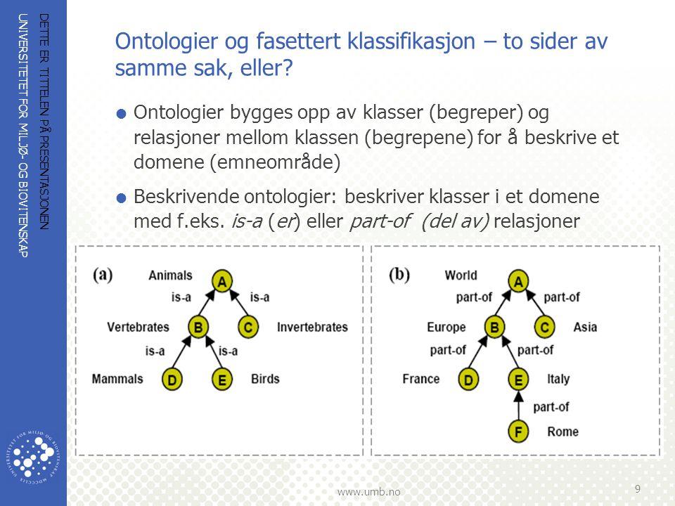 Ontologier og fasettert klassifikasjon – to sider av samme sak, eller