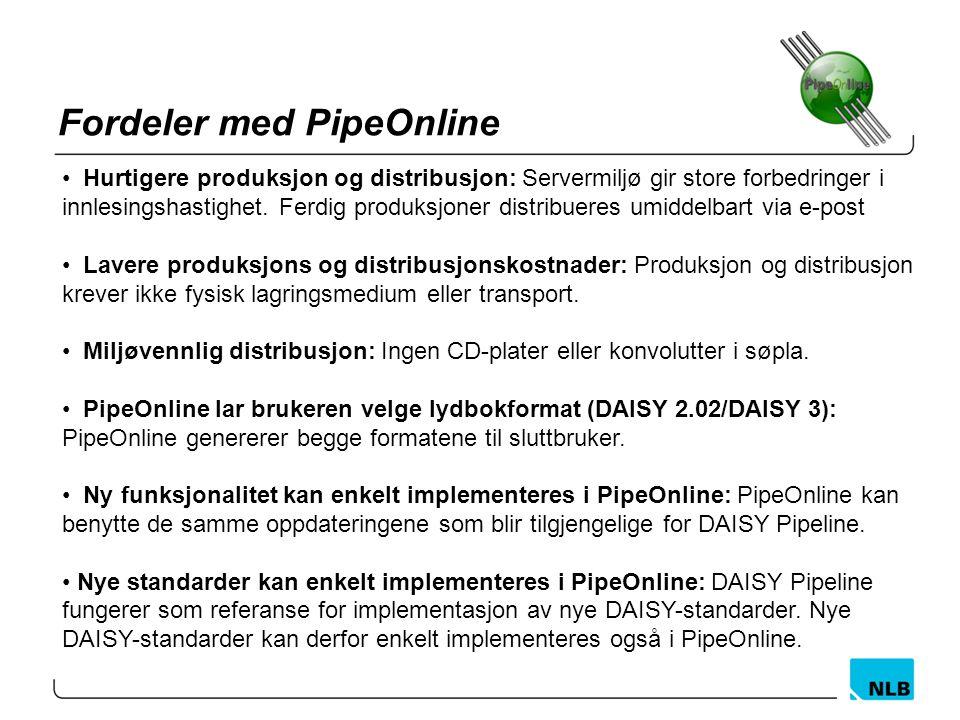 Fordeler med PipeOnline