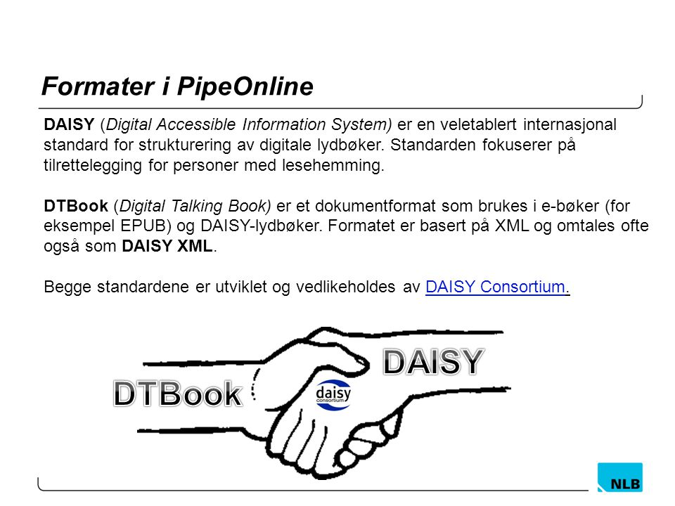 DAISY DTBook Formater i PipeOnline