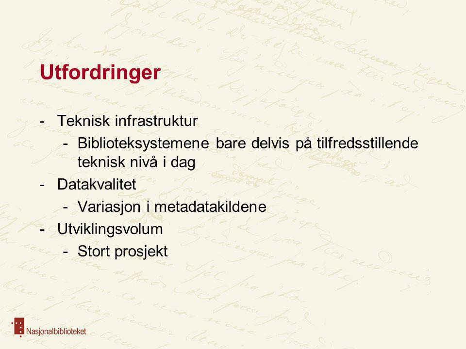 Utfordringer Teknisk infrastruktur
