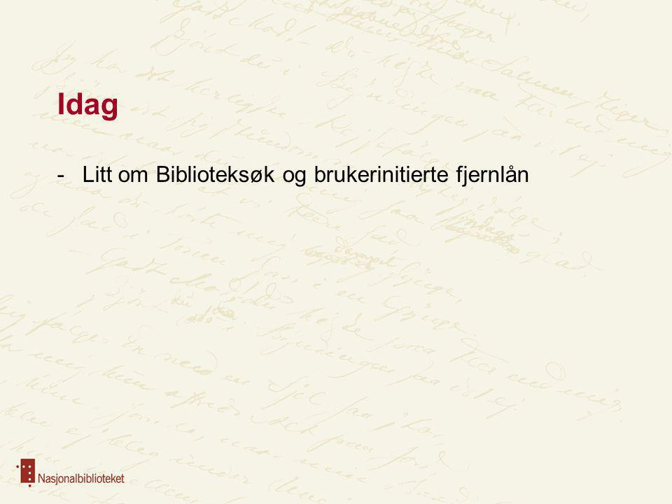 Idag Litt om Biblioteksøk og brukerinitierte fjernlån