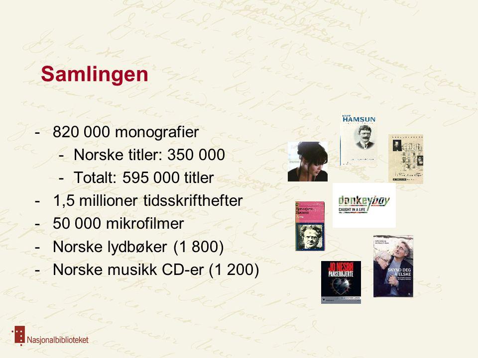 Samlingen 820 000 monografier Norske titler: 350 000