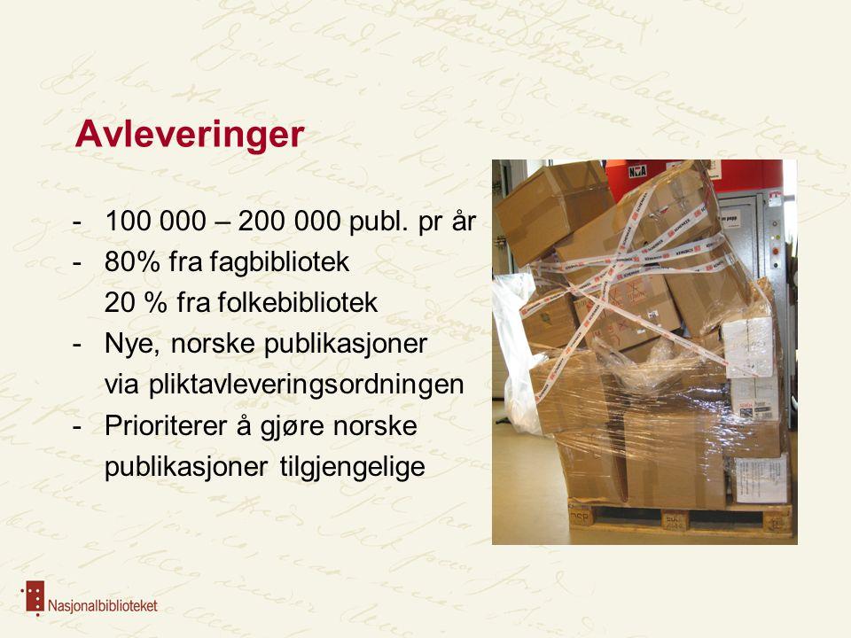 Avleveringer 100 000 – 200 000 publ. pr år 80% fra fagbibliotek