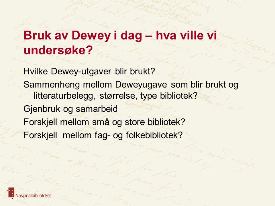 Bruk av Dewey i dag – hva ville vi undersøke
