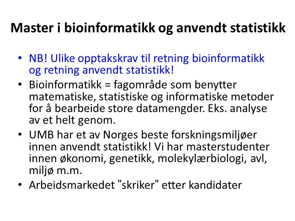 Master i bioinformatikk og anvendt statistikk