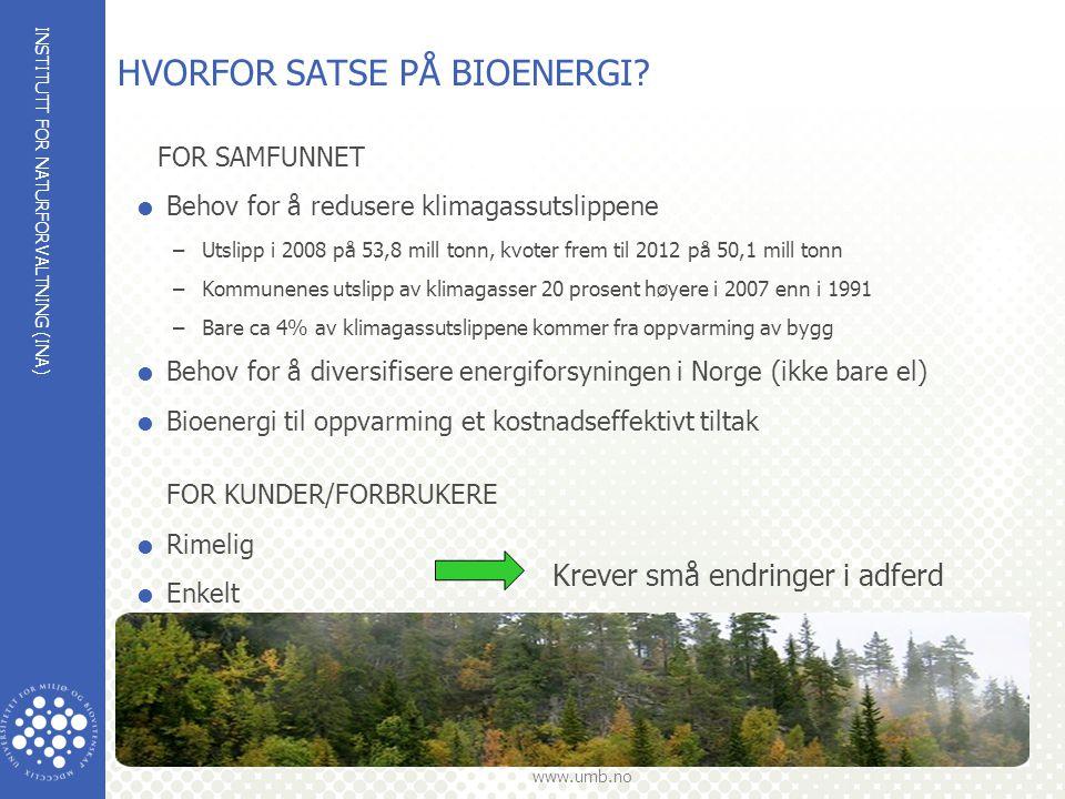 HVORFOR SATSE PÅ BIOENERGI