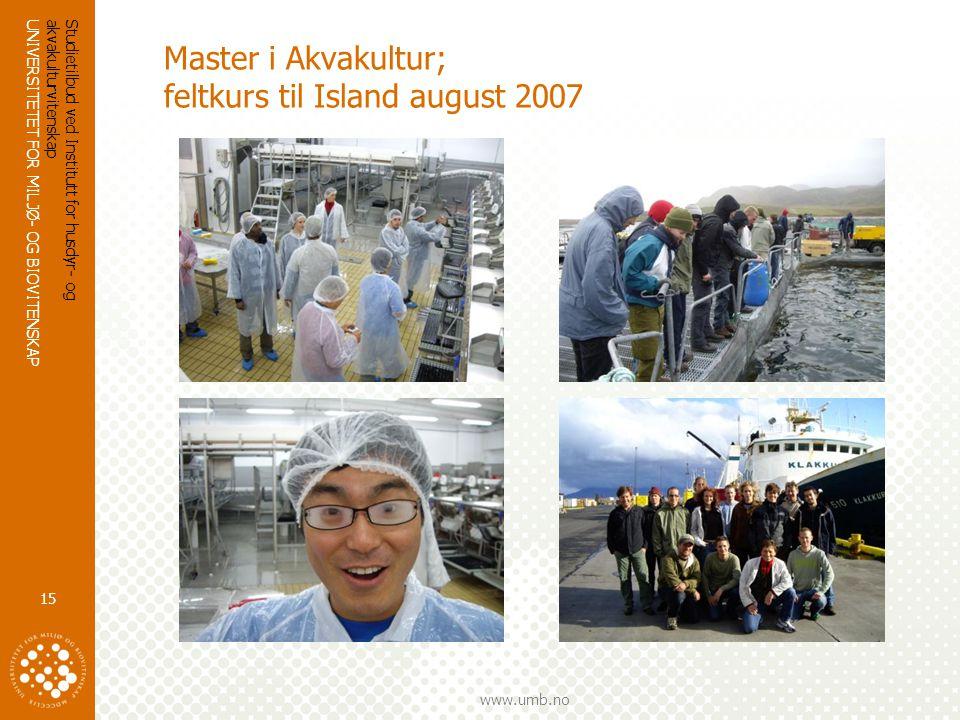 Master i Akvakultur; feltkurs til Island august 2007