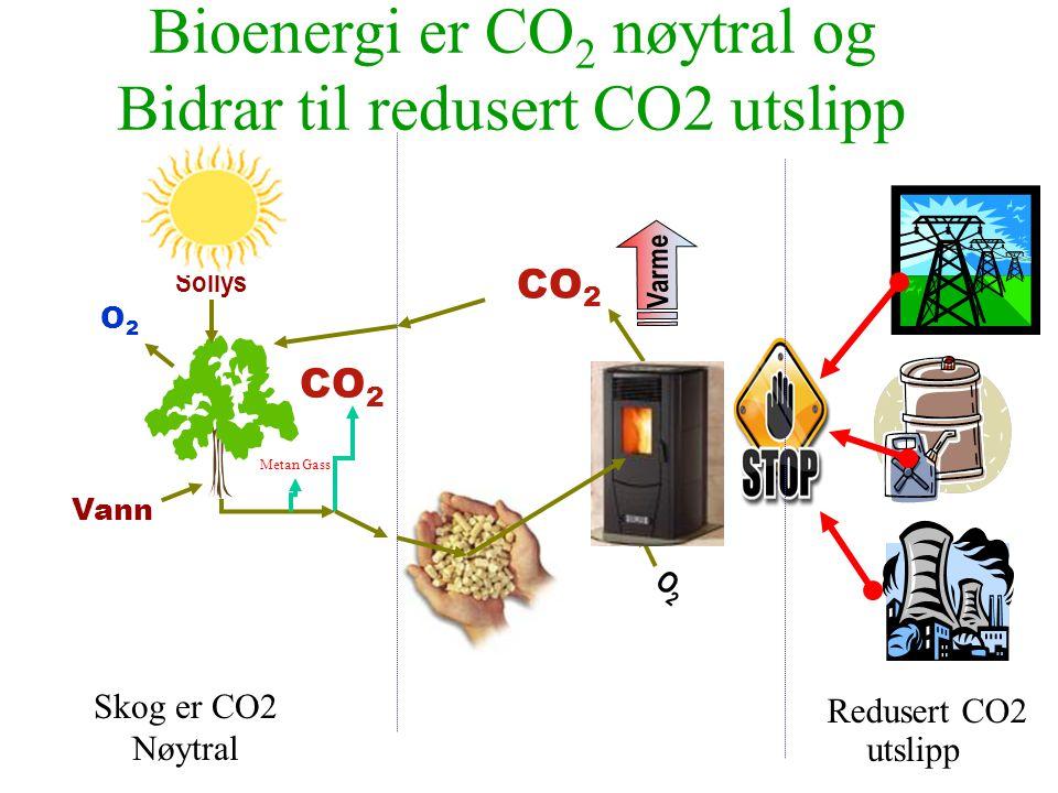 Bioenergi er CO2 nøytral og Bidrar til redusert CO2 utslipp