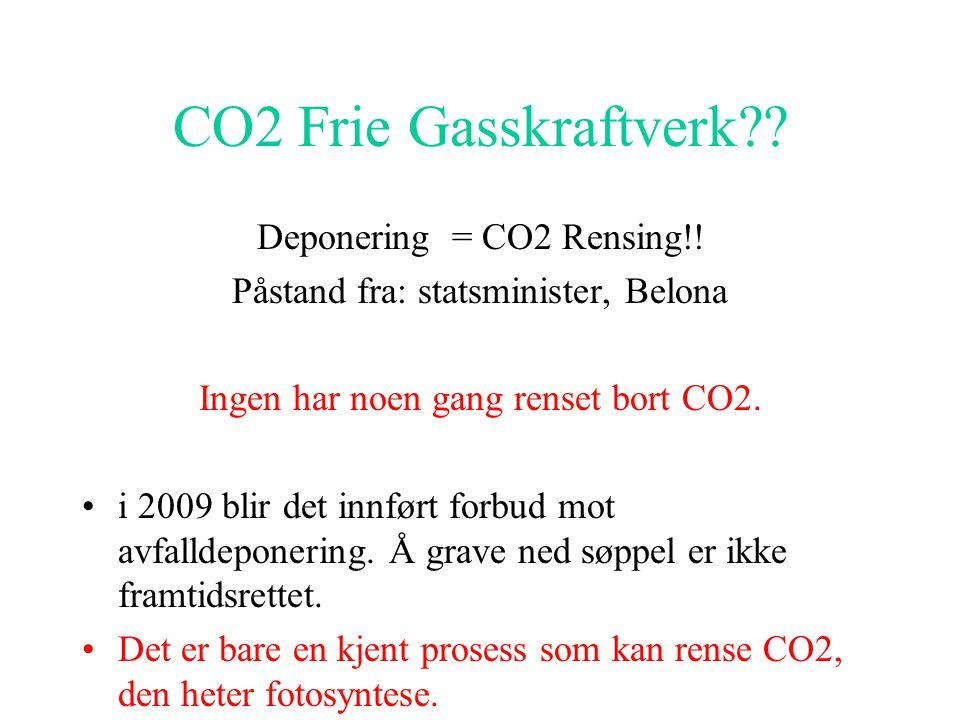 CO2 Frie Gasskraftverk Deponering = CO2 Rensing!!
