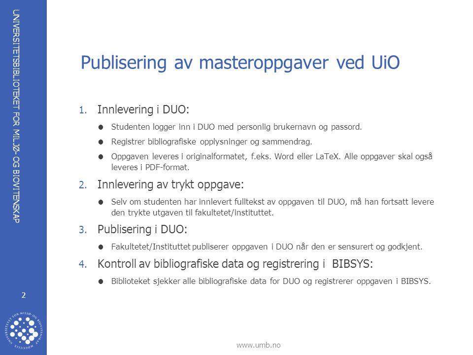 Publisering av masteroppgaver ved UiO