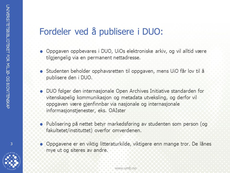 Fordeler ved å publisere i DUO: