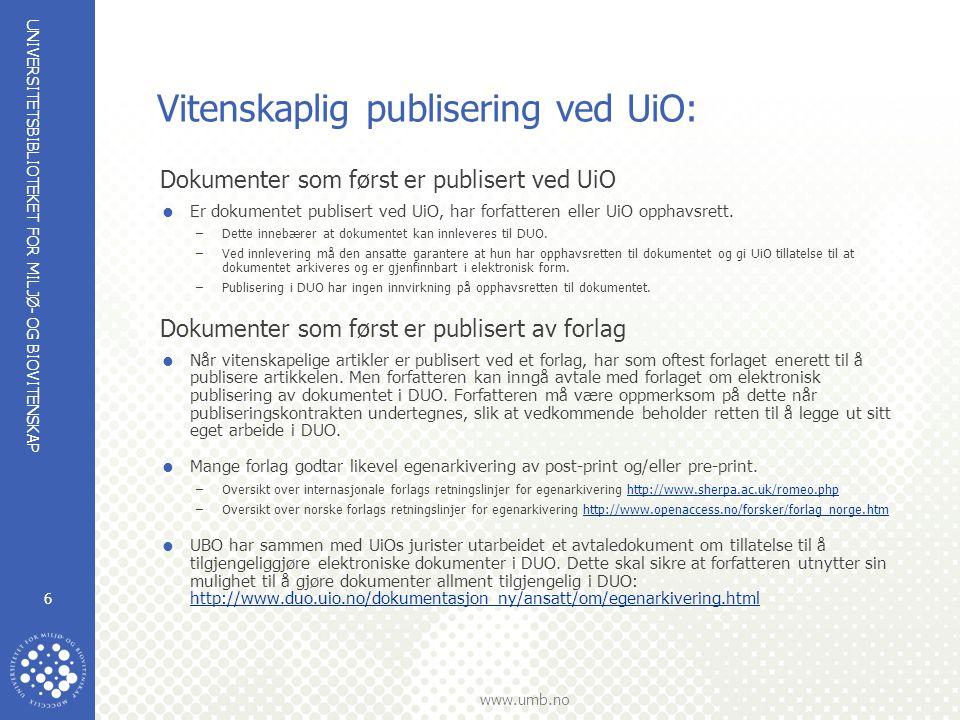 Vitenskaplig publisering ved UiO: