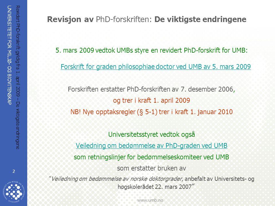 Revisjon av PhD-forskriften: De viktigste endringene