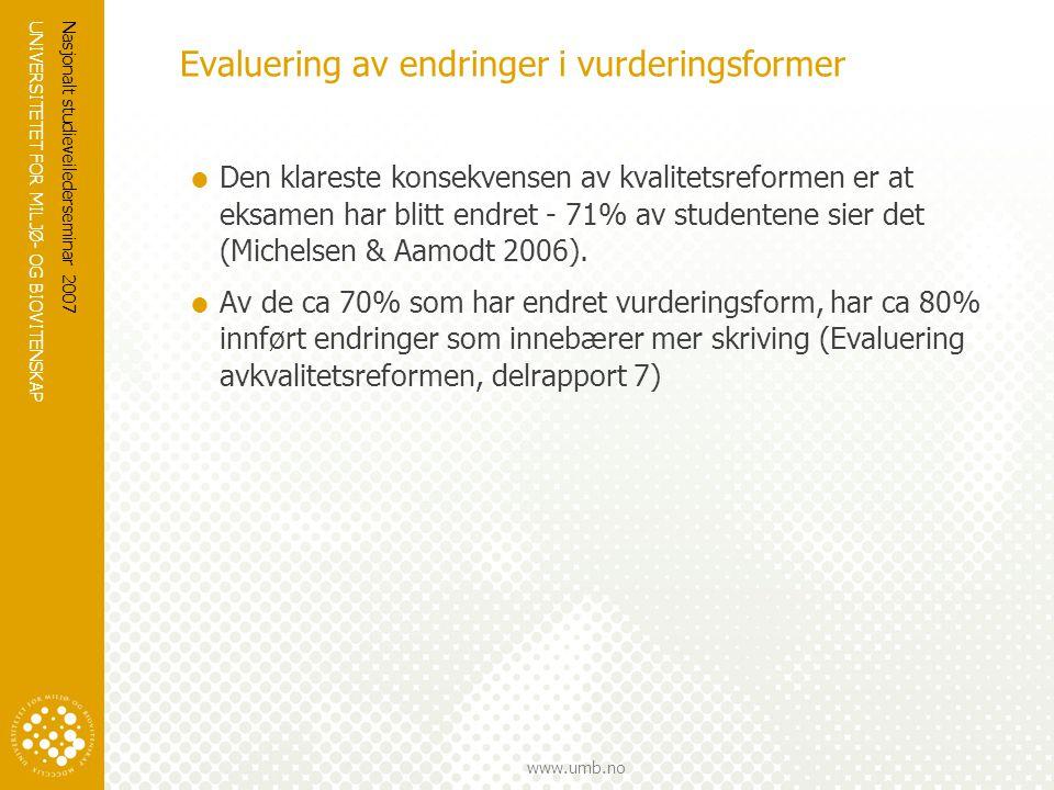 Evaluering av endringer i vurderingsformer