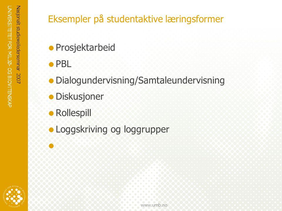 Eksempler på studentaktive læringsformer