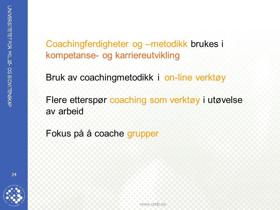 Coachingferdigheter og –metodikk brukes i