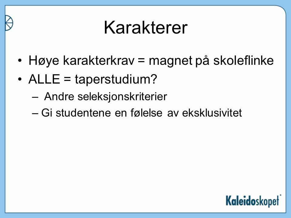 Karakterer Høye karakterkrav = magnet på skoleflinke