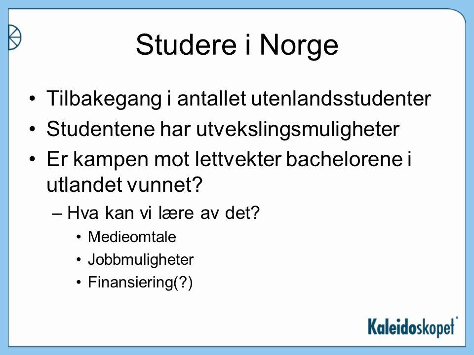 Studere i Norge Tilbakegang i antallet utenlandsstudenter