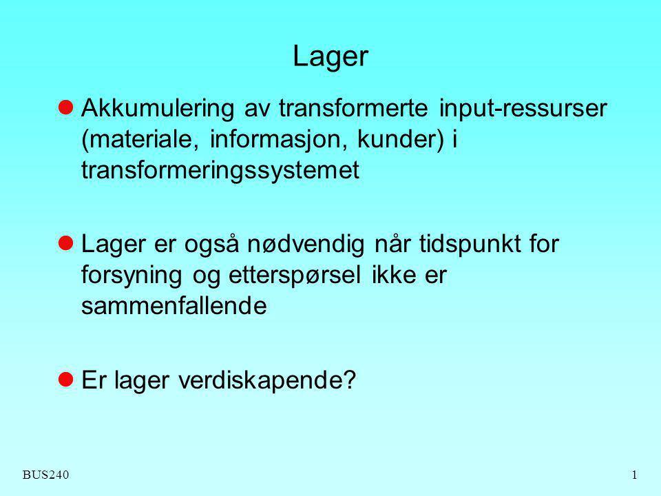 Lager Akkumulering av transformerte input-ressurser (materiale, informasjon, kunder) i transformeringssystemet.
