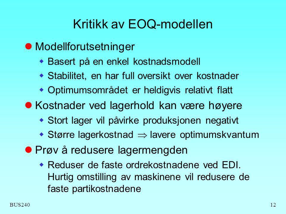Kritikk av EOQ-modellen
