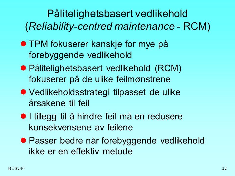 Pålitelighetsbasert vedlikehold (Reliability-centred maintenance - RCM)