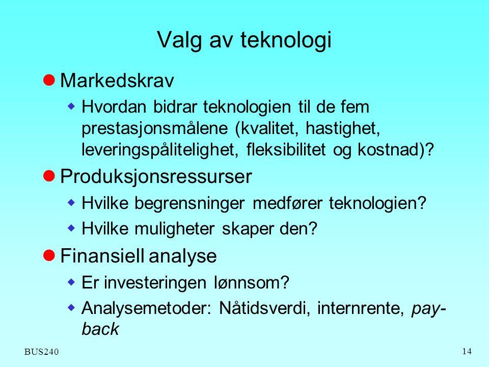 Valg av teknologi Markedskrav Produksjonsressurser Finansiell analyse