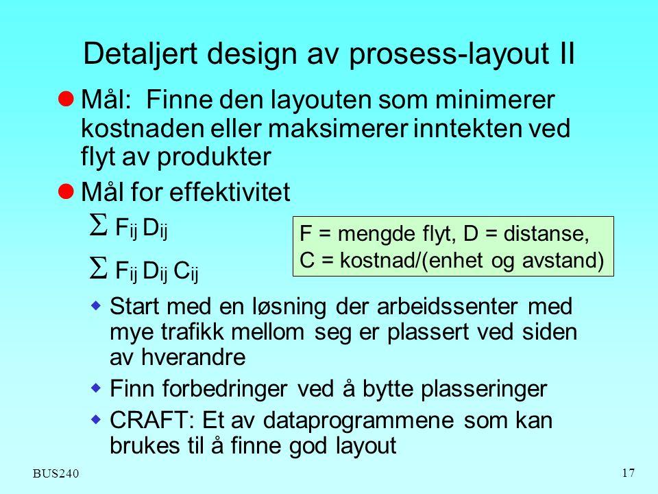 Detaljert design av prosess-layout II