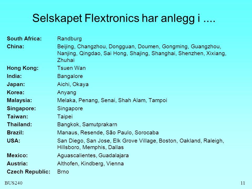 Selskapet Flextronics har anlegg i ....