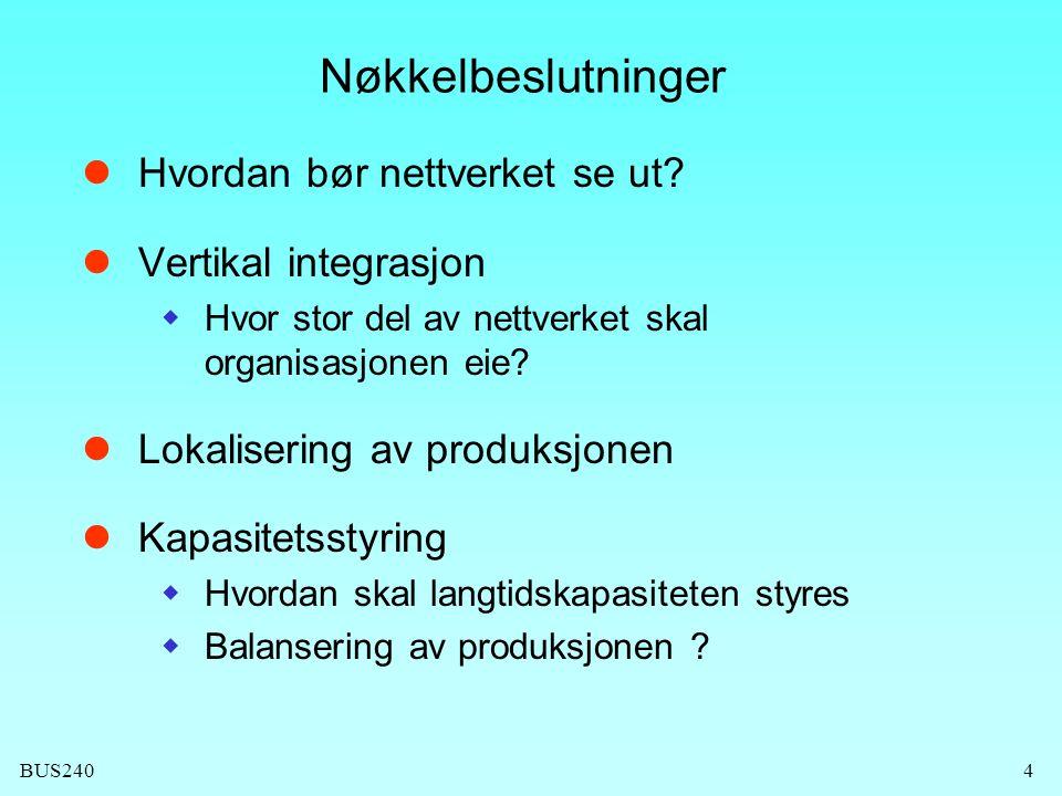 Nøkkelbeslutninger Hvordan bør nettverket se ut Vertikal integrasjon