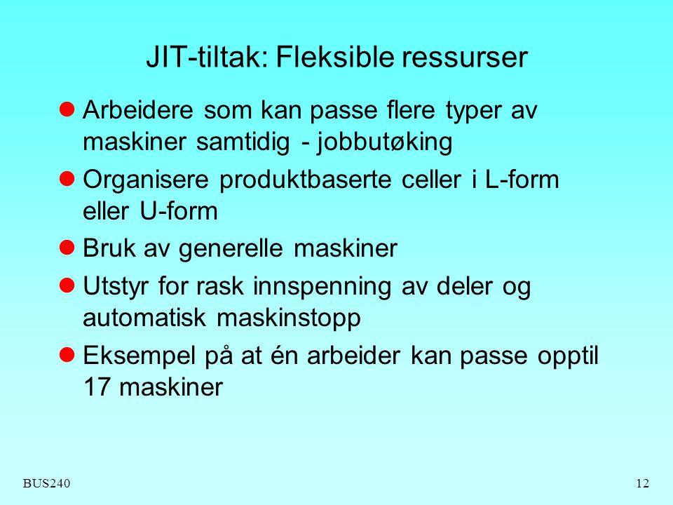 JIT-tiltak: Fleksible ressurser