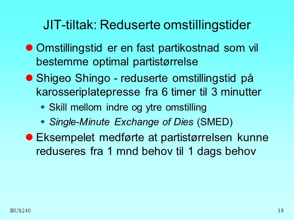 JIT-tiltak: Reduserte omstillingstider