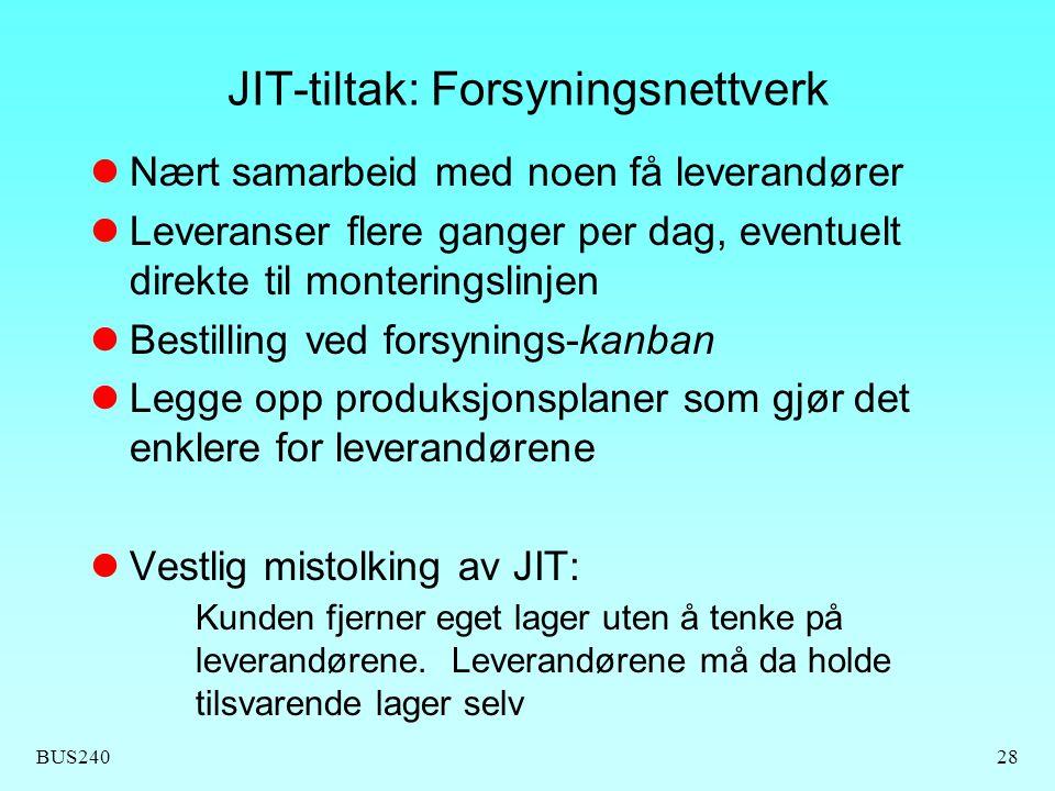 JIT-tiltak: Forsyningsnettverk