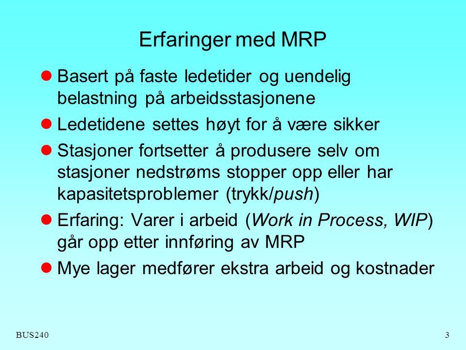 Erfaringer med MRP Basert på faste ledetider og uendelig belastning på arbeidsstasjonene. Ledetidene settes høyt for å være sikker.