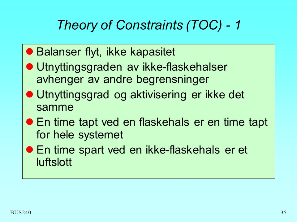 Theory of Constraints (TOC) - 1