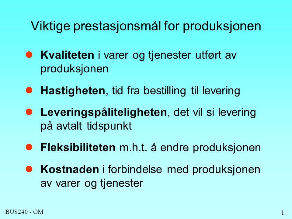 Viktige prestasjonsmål for produksjonen