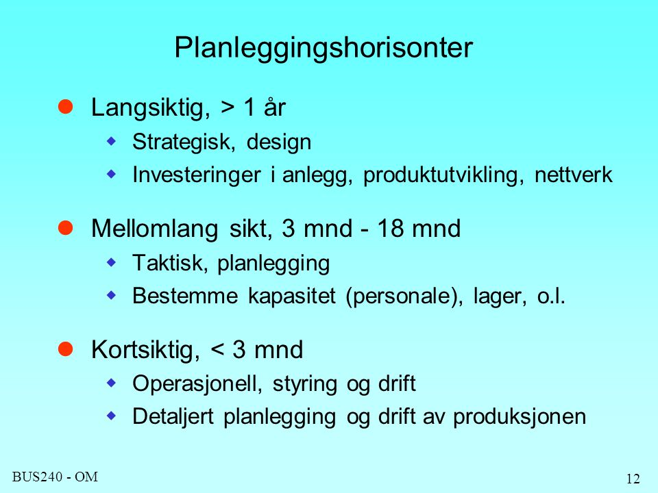 Planleggingshorisonter