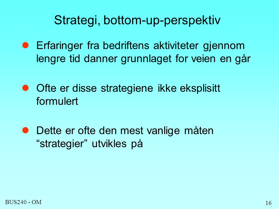 Strategi, bottom-up-perspektiv