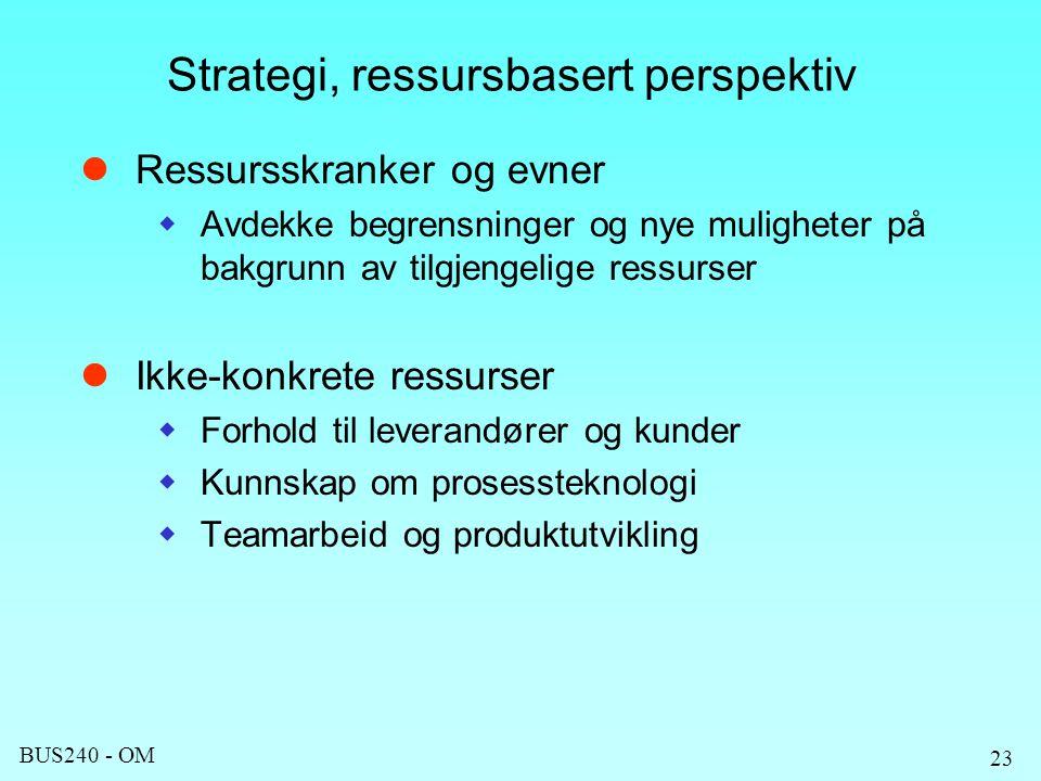 Strategi, ressursbasert perspektiv