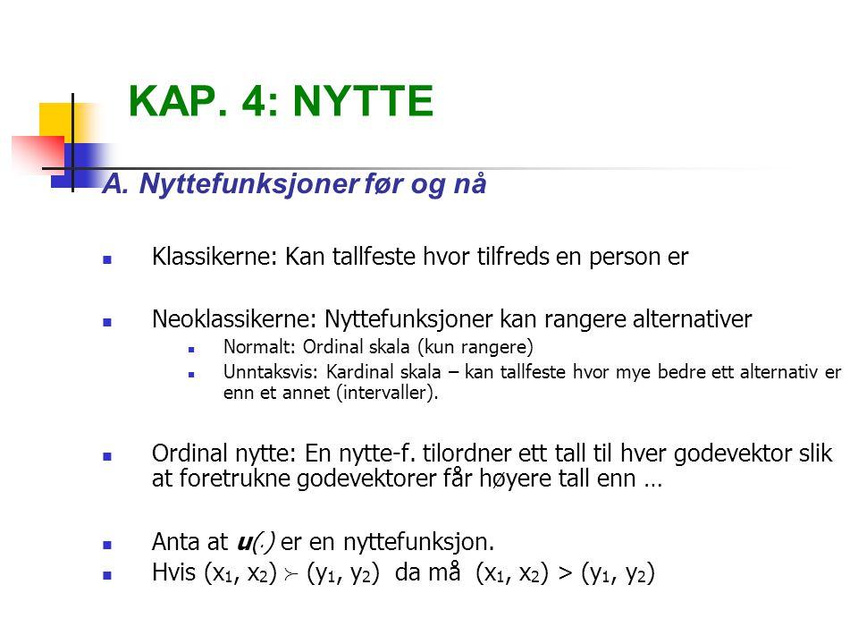 KAP. 4: NYTTE A. Nyttefunksjoner før og nå